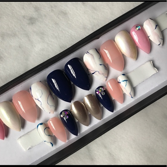 Accessories | Pink And Navy Stiletto Marble Press On Nails | Poshmark